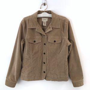 LL Bean Jacket Womens Medium Reg Suede Button Down